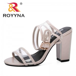 ROYYNA 2019 New Fashion Style Spring Summer Shoes Women Open Toe High Heels Party Dress Sandals Comfortable Sandalia Feminina