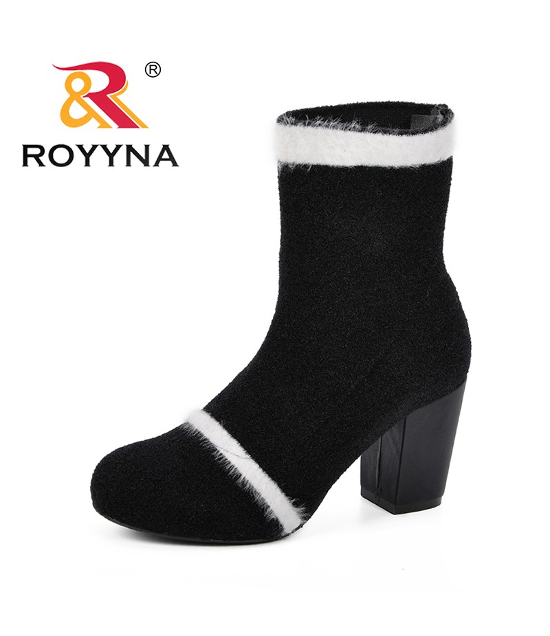 ROYYNA New Designer Socks Shoes Boots Woman 2018 Autumn Mid-Calf Boot Women Round Toe White Circle High Heels Comfy Botas Mujer