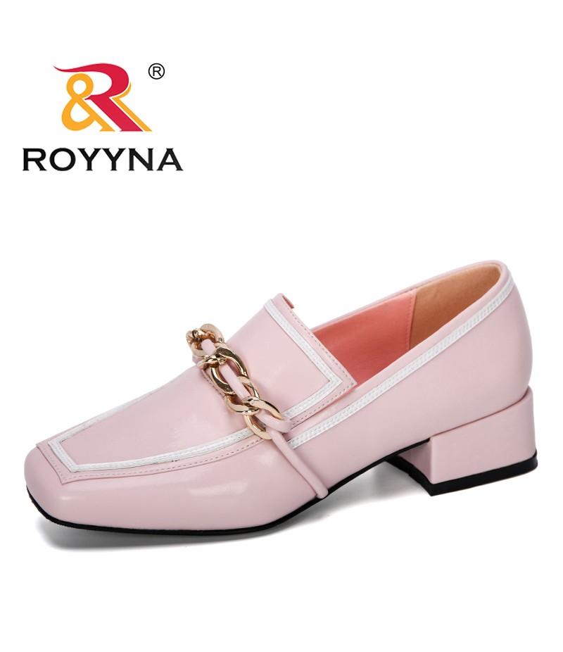 ROYYNA 2019 New Designer Lower Heel Square Toe Metal Chain Woman Shoes Elegant Ladies Shoes Zapatos De Mujer Trendy Footwear