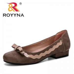 ROYYNA 2019 New Designer Woman Pumps Flock Women Shoes Round Toe Mid Heels Dress Work Pumps Comfortable Ladies Wedding Shoes