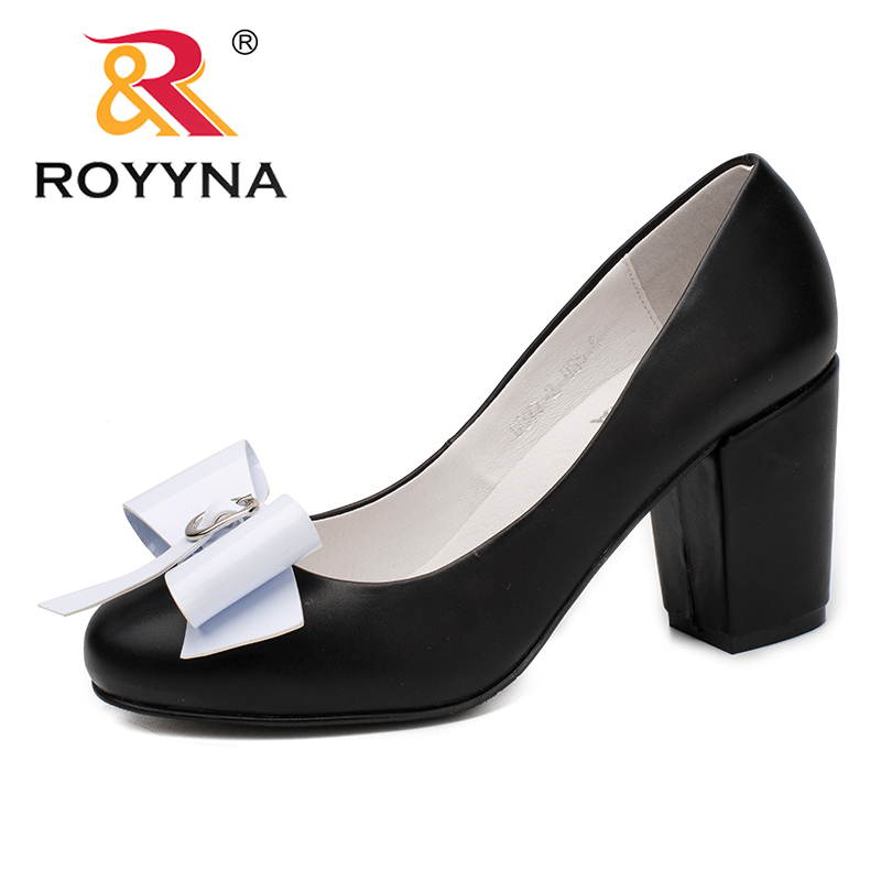 ROYYNA New Fashion Style Women Pumps Butterfly-Knot Women Dress Shoes High Square Heels Lady Wedding Shoes Fast Free Shipping