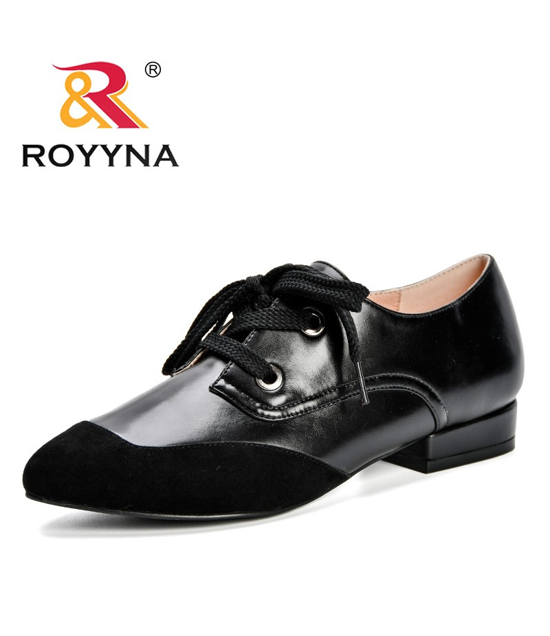 ROYYNA New Fashion Style Women Round Toe Low Heels Boat Shoes Microfiber Pumps Woman Wedding Shoes Dress Zapatos Mujer Ladies
