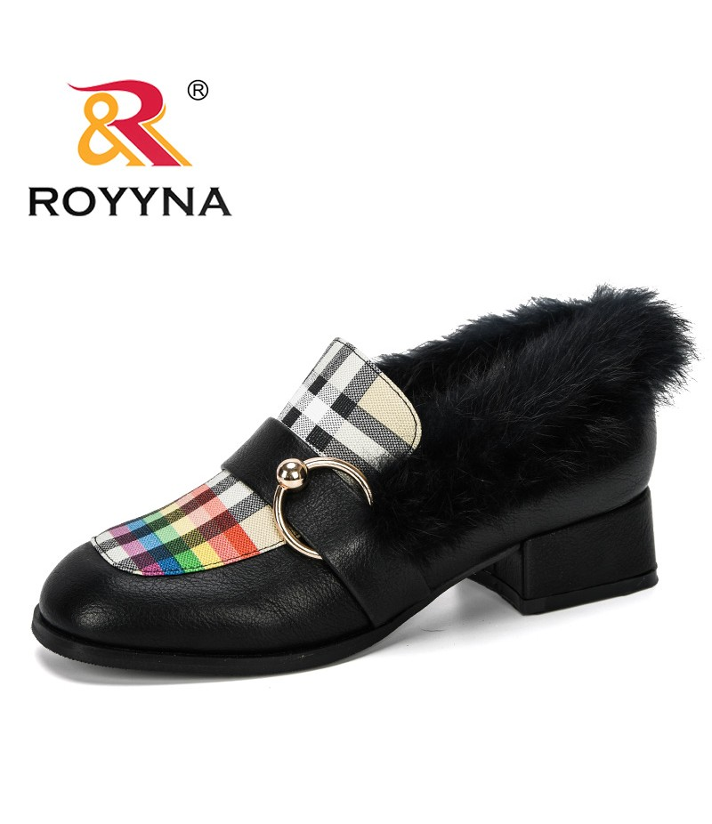 ROYYNA 2019 New Designer Plush Women Shoes OL Loafers Casual High-Heeled Female Buckle Boat Shoes Outdoor Ladies Wedding Shoes