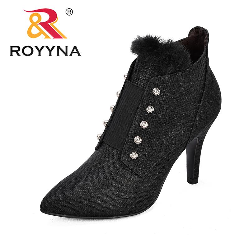 ROYYNA 2018 Large Size Women Boots Fashion Pointed Toe High Heels Women's Shoes Sexy Autumn Winter Ankle Trendy Boots Feminimo