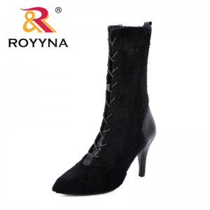 ROYYNA 2019 New Style Women Mid-Calf Knitting Boots Slip on Winter Shoes Thin High Heel Pointed Toe All Match Women Comfy Boots