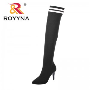 ROYYNA New Women Sock Boots 2018 Stretch Fabric Shoes Slip On Over the Knee Boots Women Pumps Stiletto Boots For Womens Footwear