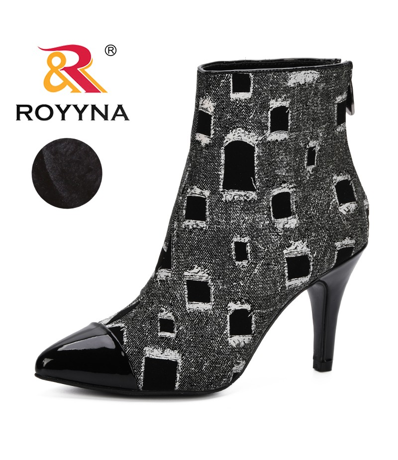 ROYYNA 2019 Large Size Women Boots Fashion Pointed Toe High Heels Women's Shoes Sexy Autumn Winter Ankle Boots Lady Comfortable
