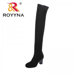 ROYYNA Stretch Fabric Over The Knee Boots Women Sexy Square Toe Thigh High Boots Comfortable Ladies High Heels Shoes Sock Boots
