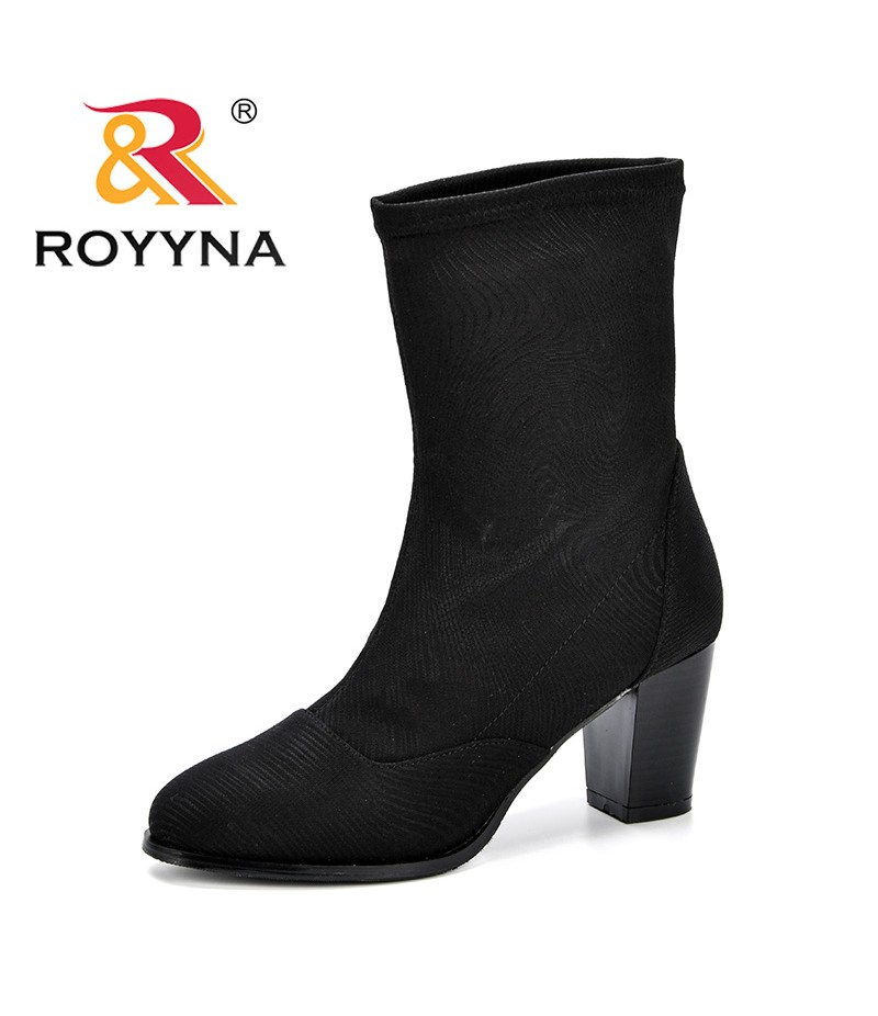 ROYYNA Fashion Fly-Knit Weaving Sock Boots For Women High Heels Mid-Calf Boots Spring Autumn Femonimo Comfortable Boots Ladies