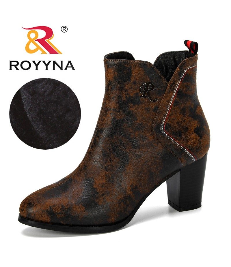 ROYYNA 2019 New Designer Popular Style Round Toe Ankle Boots Women PU Leather Women Winter Plush Shoes Zippers Ladies Footwear
