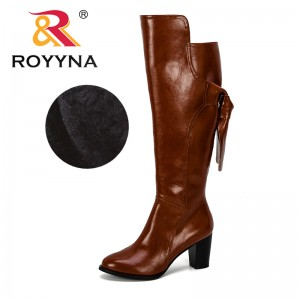 ROYYNA 2019 New Designers Over-the-knee Boots Women Microfiber Shoes High Heels Knee-high Boots Female Winter Boots Plush Female