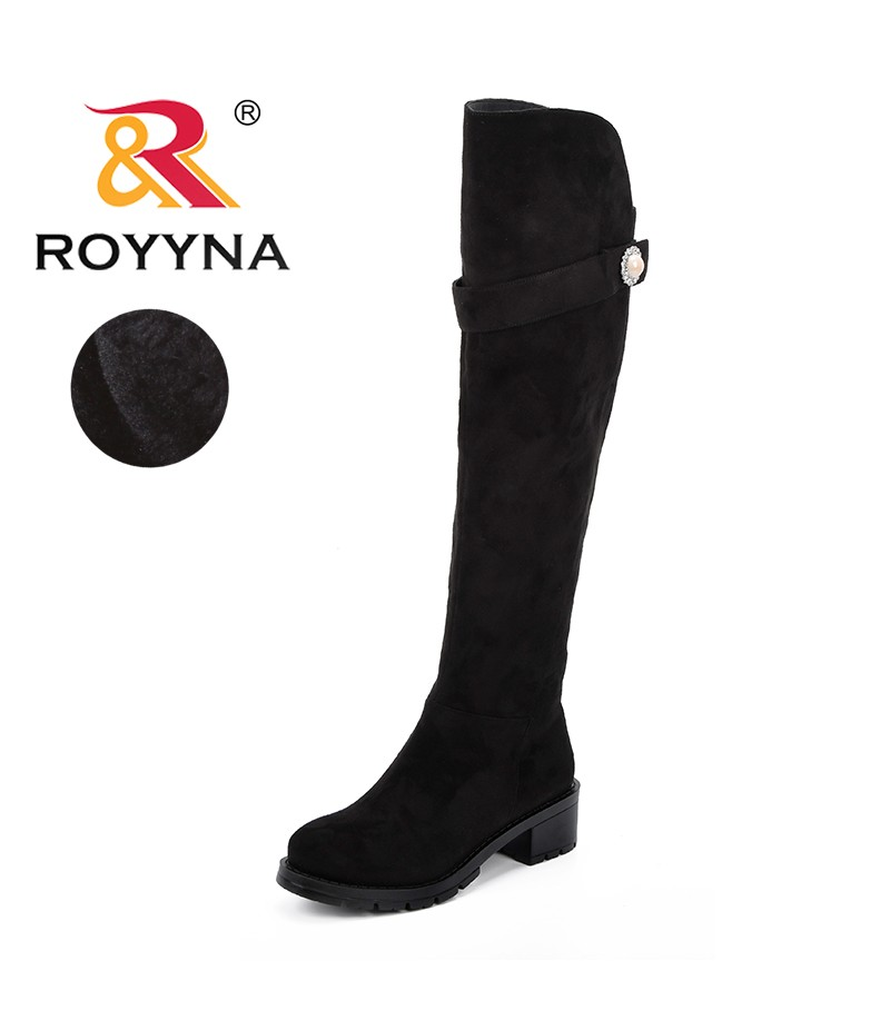 ROYYNA New Designer Sexy Over The Knee High Flock Women Snow Boots Women's Fashion Winter Thigh High Boots Trendy Woman Shoes