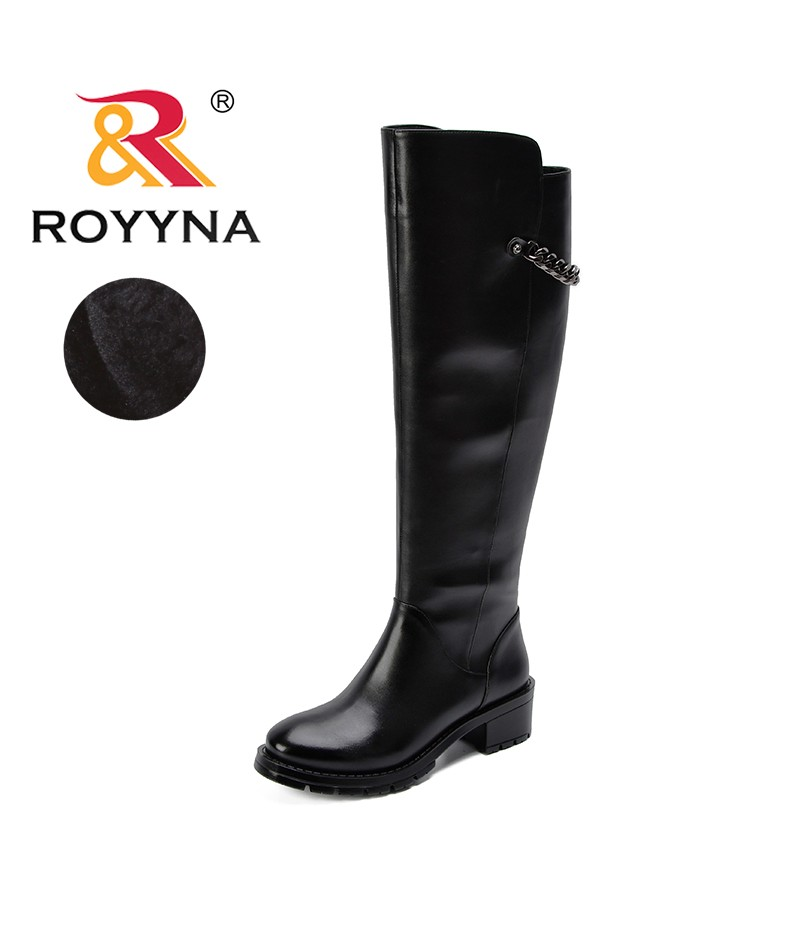 ROYYNA New Women Boots Over The Knee Boots Woman 2019 Synthetic Leather Knee High Boots Female Winter Women Shoe Botas Mujer