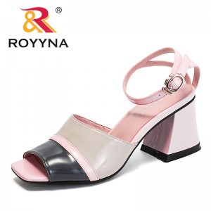 ROYYNA China Shoes  Women Sandals Microfiber Feminimo Summer Shoes High Square Heels Lady Slippers Light Free Shipping