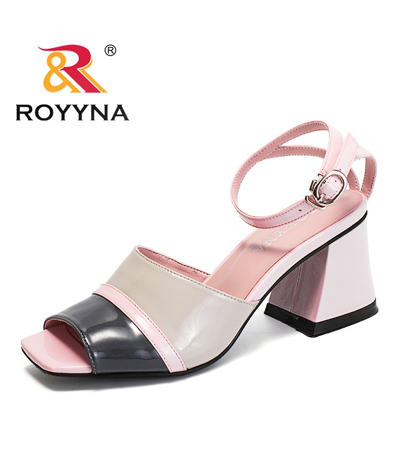 ROYYNA New Classics Style Women Sandals Microfiber Feminimo Summer Shoes High Square Heels Lady Slippers Light Free Shipping