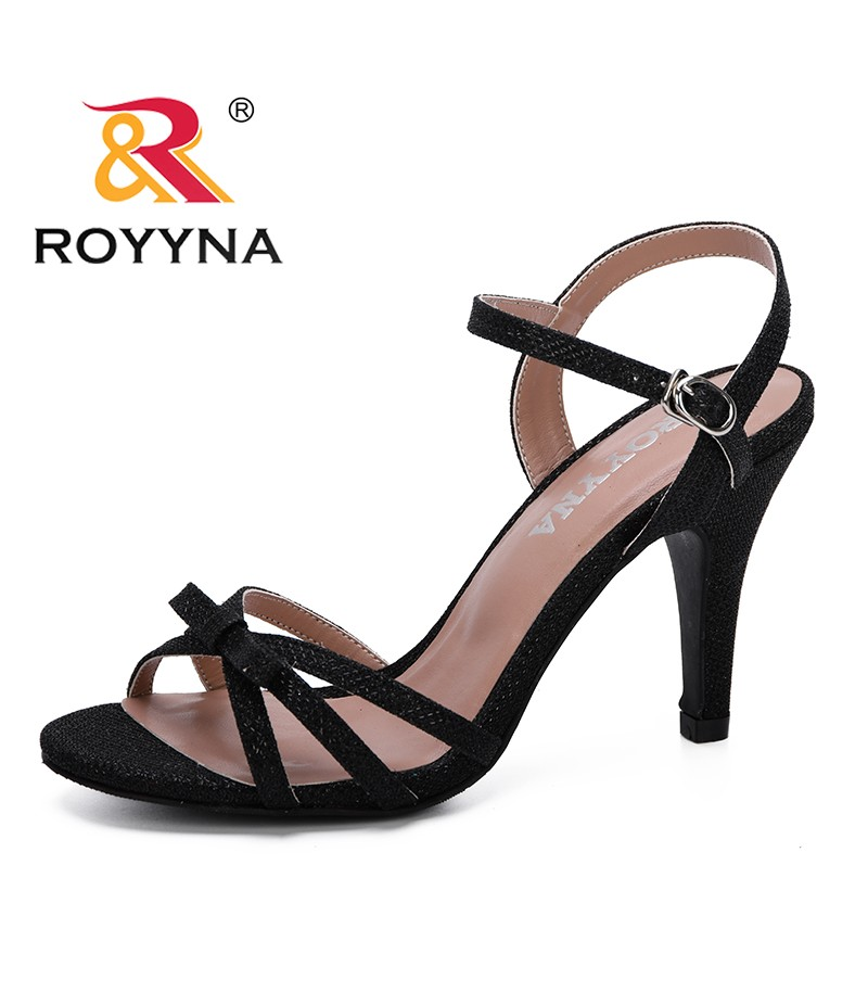 ROYYNA 2019 New Women Sandals Fashion Gladiator Sandals Summer Shoes Female High Heels Sandals Rome Style Cross Tied Sandals