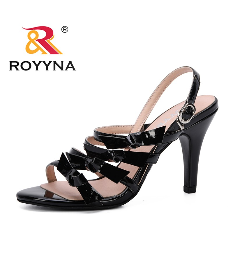 ROYYNA 2019 Women Sandals High Heels Summer Square Heel Women Shoes Wedding Shoes Microfiber Sandalia Mujer Comfortable Trendy