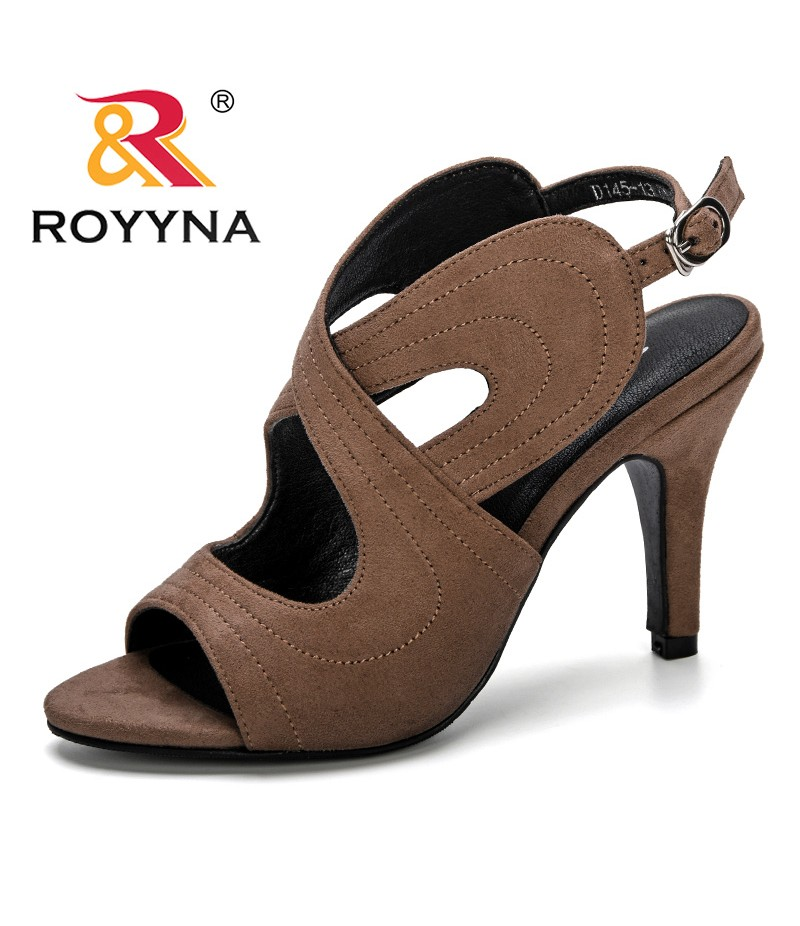ROYYNA 2019 Summer Women Sandals High Heel Ankle Strap Wedding Bridal Shoes Trendy Lady Satin Bride Prom Party Footwear Big Size