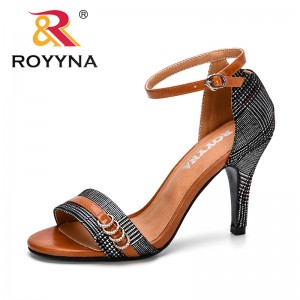 ROYYNA 2019 New Fashion Style Office Lady Peep Toe Sandals Women Sandals High Heels Gladiator Elegant Concise Summer Shoes Comfy