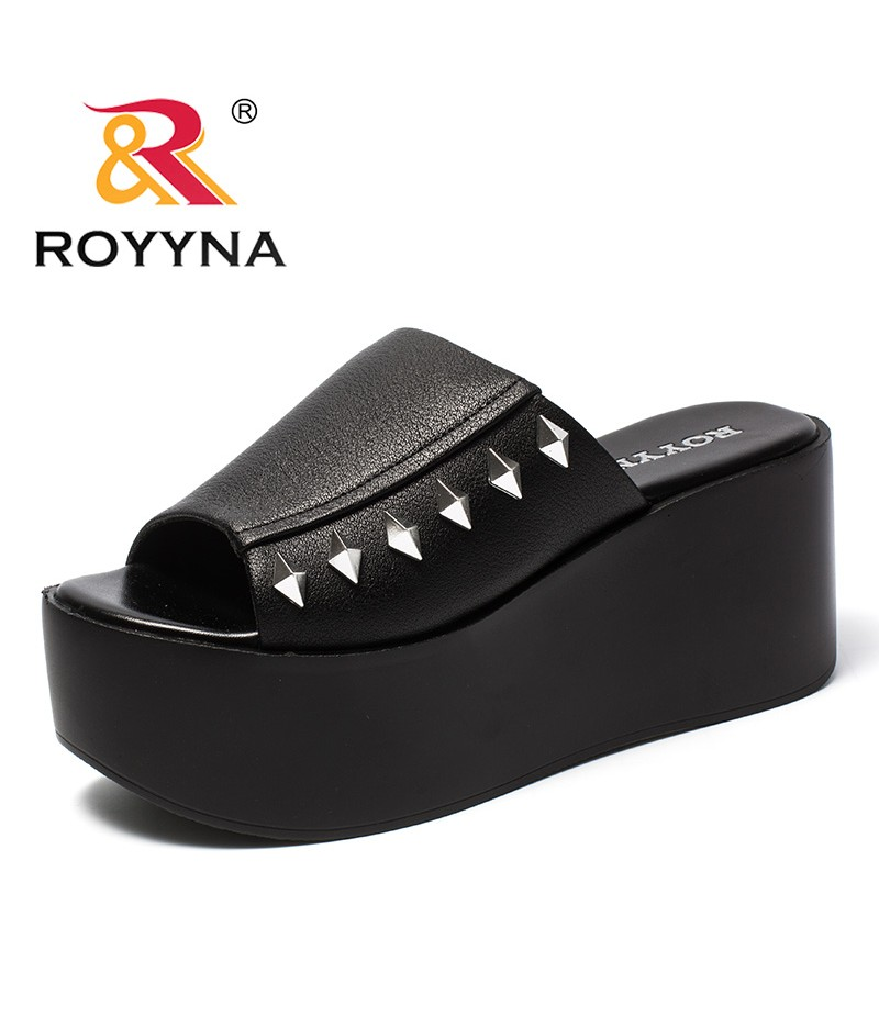 ROYYNA New Popular Design Style Women Slippers Metal Decoration Femme Summer Shoes High Platform Microfiber light Lady Slides