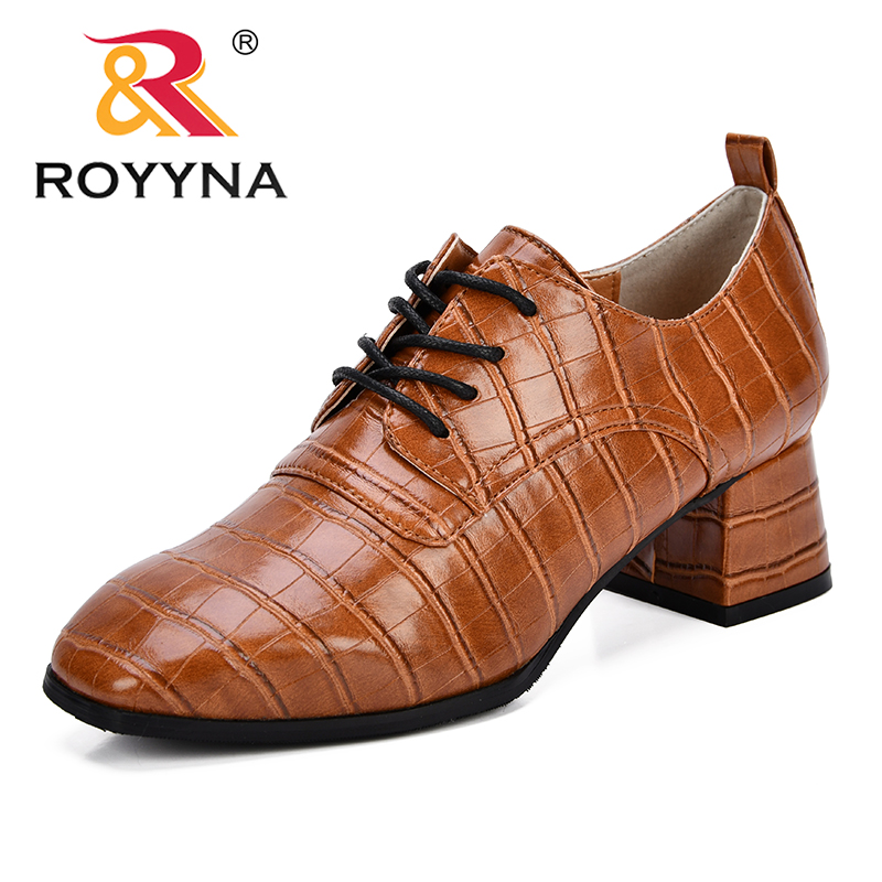 ROYYNA New Classics Style Women Pumps Synthetic Lace Up Feminimo Dress Shoes Outdoor Square Toe High Heels Lady Office Shoes