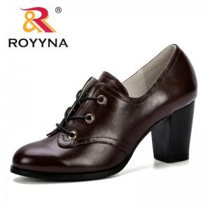 ROYYNA 2019 New Designer Women Pumps Black High Heels Lady Microfiber Thick Spring Autumn Round Toe Single Shoes Female Trendy