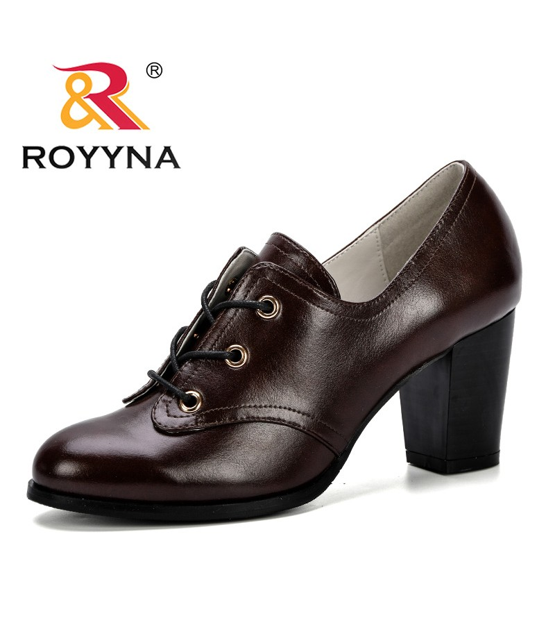 ROYYNA 2019 New Designer Women Pumps Black High Heels Lady Microfiber Thick Spring Autumn Round Toe Single Shoes Female Trendy
