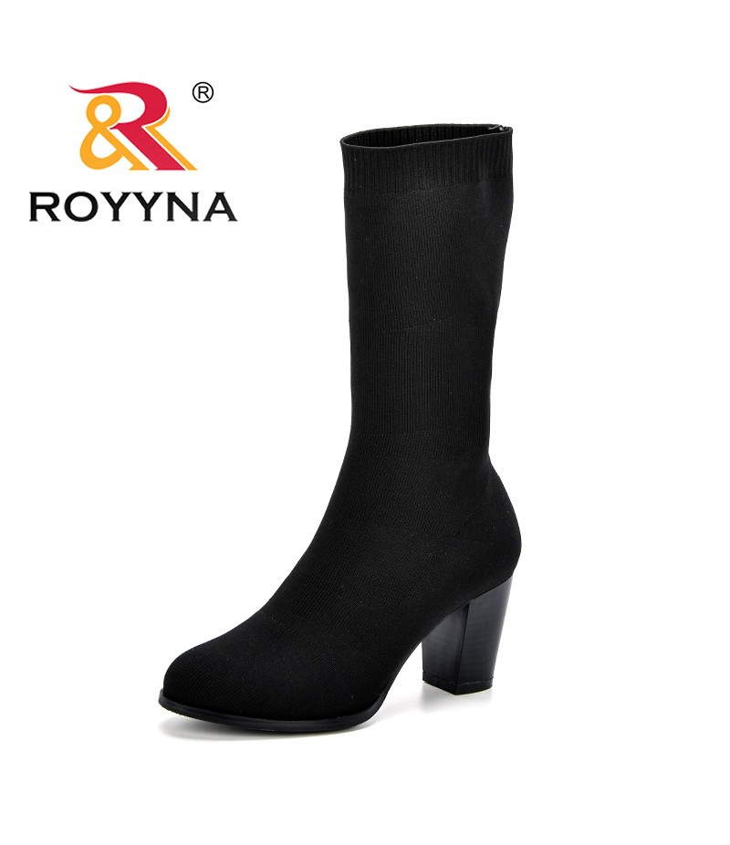 ROYYNA 2018 New Autumn Winter Women Boots Stretch Febric Female Slip-Op Martin Boots Vintage Fashion Comfy Ankle Boots Feminimo