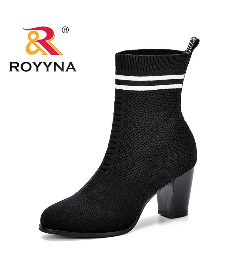 ROYYNA Autumn New Women Sock Boots Round Toe Elastic Fly-Knit Boots Slip On High Heel Mid-Calf Boots Women Pumps Stiletto Botas