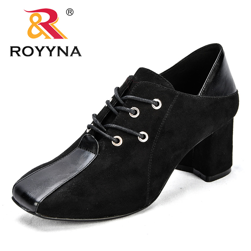 ROYYNA New Classics Style Women Pumps Square Toe Lace Up Feminimo Office Shoes Square Heels Lady Dress Shoes Fast Free Shipping