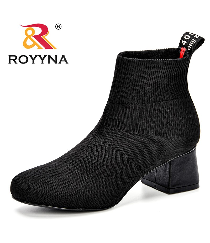 28c5d87db5 ROYYNA Fashion Ankle Elastic Sock Boots Chunky High Heels Stretch Women  Autumn Sexy Booties Trendy Round Toe ...