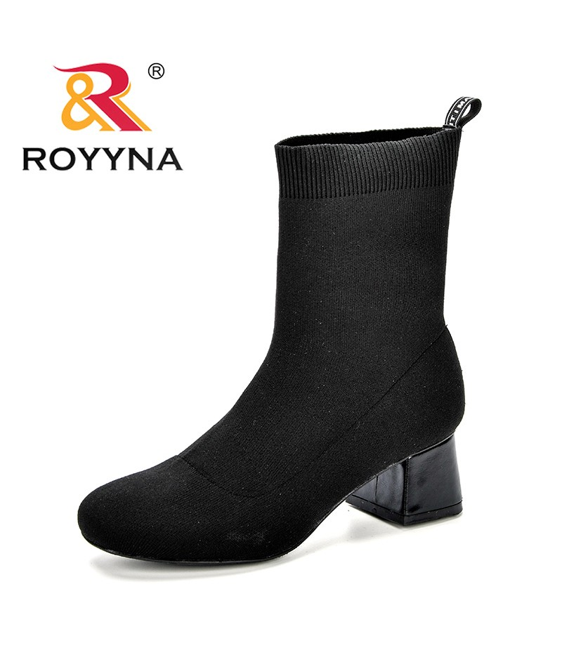 ROYYNA Sock Boots Women High Heel Ankle Boots Round Toe Fly-Knit Weaving Autumn Winter Comfortable Boots Ladies Shoes Plus Sizes
