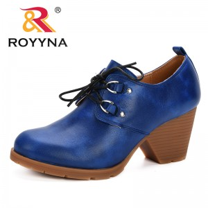 ROYYNA 2019 Spring Autumn Women Brogue Shoes Vintage Chunky Heel Trendy Pumps Ladies Lace Up Female Fashion Comfortable Footwear