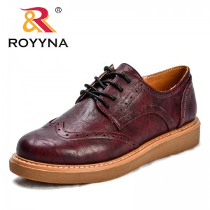ROYYNA New Classics Style Women Casual Shoes Synthetic Lace Up Female Flats Comfortable Round Toe Lady Leisure Shoes Soft Light