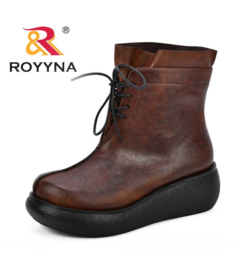 ROYYNA New Fashion Leather Boots For Women Mid-Calf Boots Spring Autumn Martin Boots Women's Shoes Thick Short Boots Comfortable