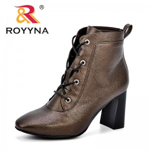ROYYNA 2018 Autumn Women Mid-Calf Boots Fashion Square Toe High Heels Women's Shoes Sexy Fashion Trendy Comfy Boots Feminimo