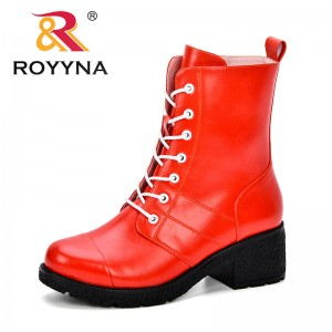 ROYYNA 2018 New Autumn Winter Women Boots High Quality Solid Lace-Up European Ladies Shoes Microfiber Fashion Comfortable Boots