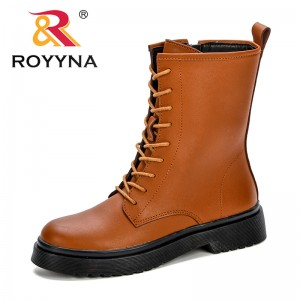ROYYAN New Design Trendy Style Women Mid-Calf Boots Shoes Woman 2018 Spring Fall Synthetic Leather Lace Up Shoes Free Shipping