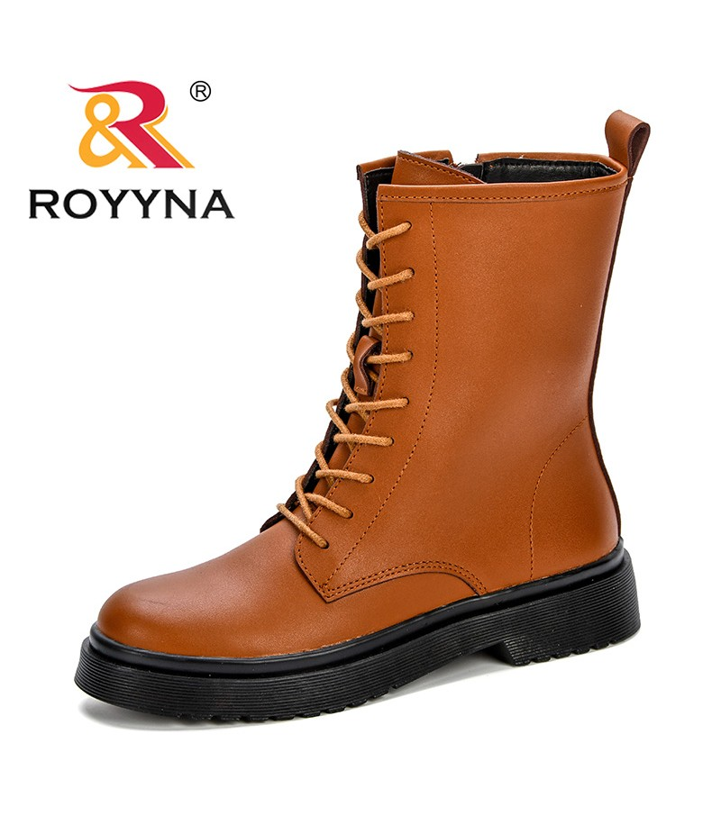 ea4244fee211 ROYYAN New Design Trendy Style Women Mid-Calf Boots Shoes Woman 2018 Spring  Fall Synthetic Leather Lace Up Shoes Free Shipping