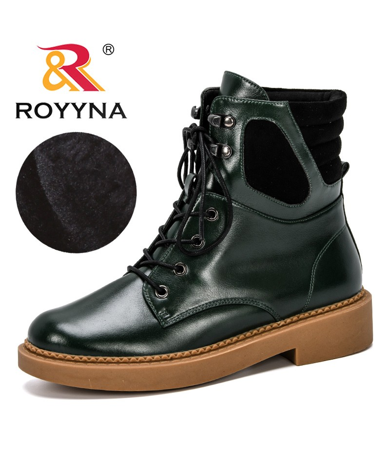 ROYYNA 2019 New Designer Fashion Winter Boots Women Ankle Snow Boots Female Warm Fur Plush Insole Lace Up Botas Mujer Footwear