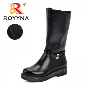 ROYYNA New Autumn Winter Mid-calf Women Boots Flats Heels Warm Short Plush Synthetic Leather Boots High Quality Boots Feminimo