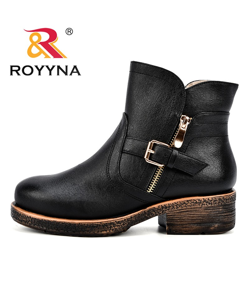 ROYYNA Women Ankle Martin Boots 2018 Autumn Winter Female Casual Shoes Woman Flat Fashion Platform Round Toe Buckle Strap Solid