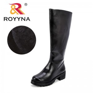 ROYYNA Women Winter Autumn Synthetic Leather Women High Quality Knee High Boots Short Plush lining Warm Zipper Round Toe Shoes