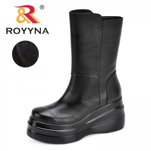 ROYYNA New Women Winter Boots Fashion Warm Short Plush Shoes Woman High Platform Med-Calf Snow Boots Woman Increasing Height
