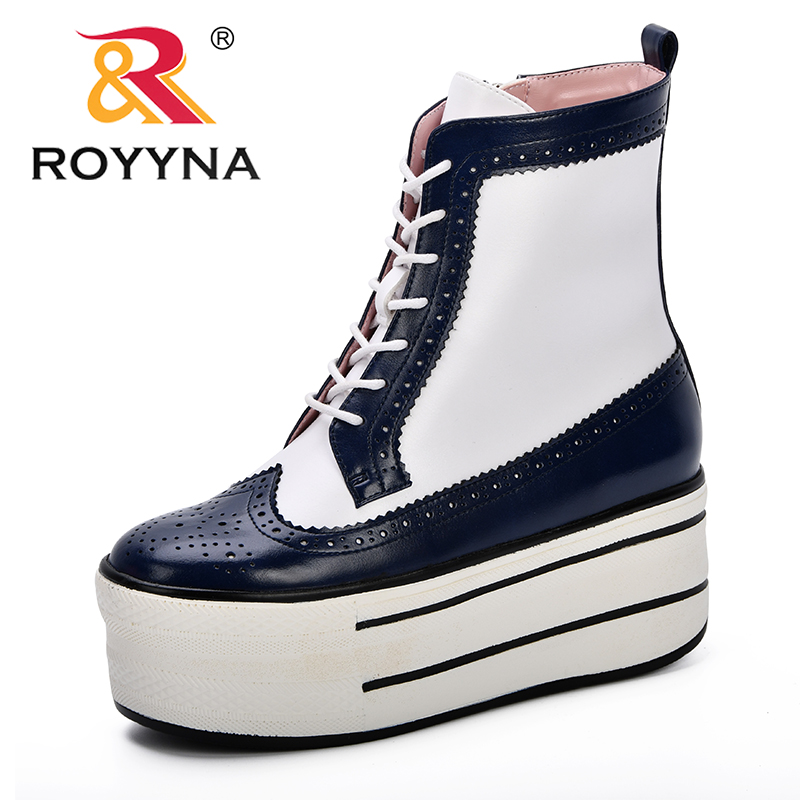 ROYYNA 2019 New Style Platform Heels Women Ankle Boots Soft Microfiber Thick high Heels Boots Winter Autumn Boots Side Zippers