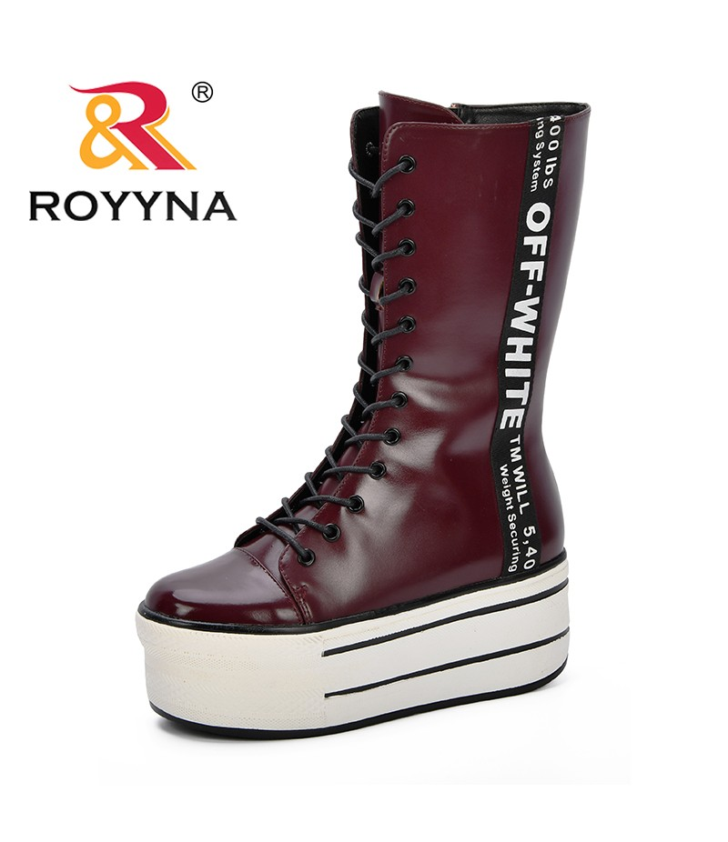 ROYYNA New Designer Fashion Increasing Women Shoes High Heels Platform Boots Women Side Zipper Winter Shoes Women Boots Trendy