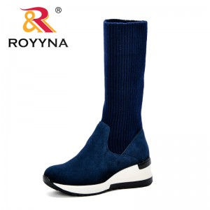 ROYYNA Fashion Knitted Women Knee High Boots Elastic Slim Autumn Winter Warm Long Thigh High Boots Woman Comfortable Shoes Lady