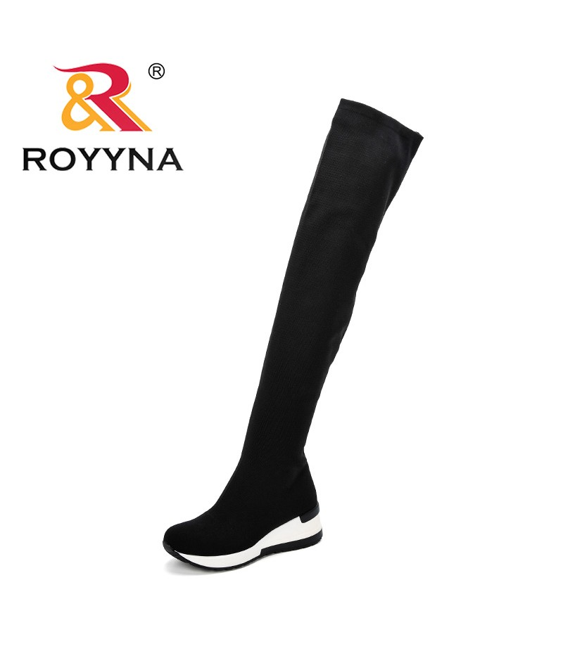 ROYYNA 2019 Women Spring Autumn Boots Shoes Over The Knee Thigh High Boots Stretch Fabric Wedges Slip-On Basic Boots For Women