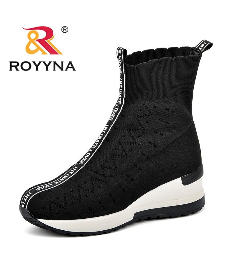 ROYYNA Fashion Ankle Boots For Women Shoes Round Toe Wedges Fly-Knit Weaving Botas Mujer Botte Femme Increasing Height Footwear