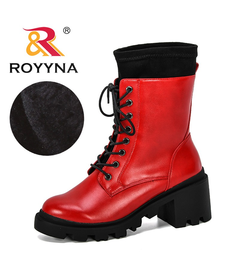 ROYYNA 2019 New Fashion Women Boots Lace Up Flat Biker Combat Boots Shoes Woman Botas Outdoor Winter Boots Comfortable Feminimo